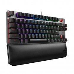 Tastatura gaming ASUS ROG Strix Scope TKL Deluxe Cherry MX Red argintie iluminare RGB