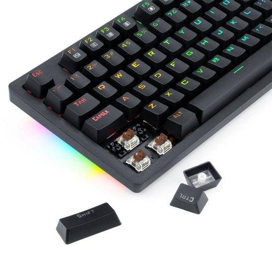 Tastatura gaming wireless si cu fir mecanica Redragon Knight neagra iluminare RGB